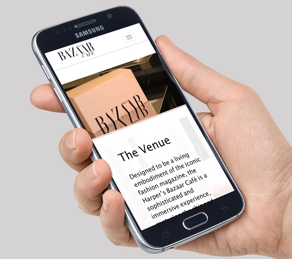Harper's Bazaar Cafe Website Mobile View